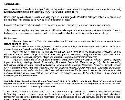 Assemblea FCA 2019, i carta del nostre President